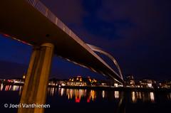Maastricht by night hoge brug (JoeriVanthienen) Tags: bridge water netherlands night maastricht lights long exposure nederland brug maas hoge limburg