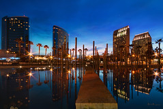 Childrens Park (Lee Sie) Tags: park city blue sunset urban reflection water buildings lights twilight downtown cityscape sandiego palmtrees conventioncenter ccl gaslamphotels
