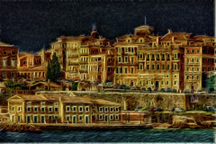 night corfu fantasy (dtsortanidis) Tags: door city houses windows sea summer vacation sky abstract colour window night photoshop canon buildings wonderful painting island fire town interestingness interesting doors cityscape colours view greece creation fantasy fractal corfu futuristic dimitris 200mm travelphotography dimitrios beautifulphoto amazingimage fractalius tsortanidis