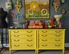 painted dressers (moxie-girl) Tags: yellow vintage bedroom estate thrift danish dekalb moxie dressform vintagebowls vintagepurse cathrineholm floralpainting yellowdressers