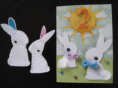 Violet's Birthday 2 Yrs. (cengland24) Tags: flowers two sun cute bunnies spring child finger felt puppets cotton card rabbits bows bithday