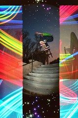 evening ollie ({ tcb }) Tags: lightpainting film stairs 35mm holga exposure skateboarding doubleexposure skating double fisheye ollie richie tcb twincitiesbrightest triplecameratripleexposure