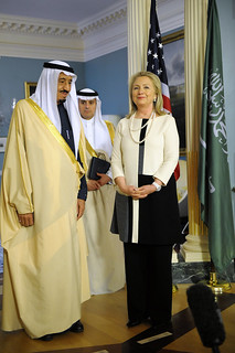 From flickr.com/photos/9364837@N06/7072192719/: Secretary Clinton Poses With Saudi Arabian Defense Minister Salman