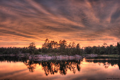 Clouds at sunset (J.Burrows) Tags: trees sunset summer lake reflection tree water colors clouds canon island sundown dusk georgianbay canonrebel hdr