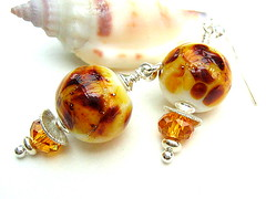 Popcorn - Sold (Beguiled By The Bead) Tags: brown glass amber jewellery caramel earrings lampwork artisan topaz sterlingsilver burntsugar