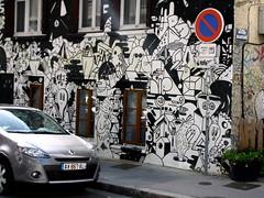 Monochromatic Mural (K.G.Hawes) Tags: street blackandwhite white streetart black france building art car sign buildings french graffiti artwork mural paint lyon painted streetsign creative commons renault cc creativecommons graff lyons