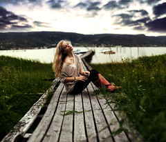 Calmness (Sophia Alexis) Tags: alexis sea summer portrait sky green girl norway self 365 sophia