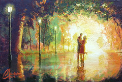 Magical-Moment_web (ChristopherClarkArt) Tags: chris original autumn sunset italy abstract tree green art fall texture love nature grass modern painting season landscape dance artwork italian kiss kissing couple paint mediterranean artist acrylic afternoon seasons married dancers dancing drawing amor fineart hill christopher marriage daily romance tuscany clark painter passion oil draw chrisclark marry amore tuscan toscano dailypainting christopherclark dailypainter