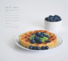 JULY Calendar (Faisal | Photography) Tags: life white breakfast eos still soft dof bokeh 14 strawberries blueberry usm 50 tones ef waffle ef50mmf14usm 50d canoneos50d julycalendar faisal|photography فيصلالعلي