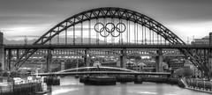 Tyne Bridge with Olympic Rings (peter.guyan) Tags: canon river newcastle high bridges tyne tynebridge level olympics polarizer swingbridge newcastleupontyne metrobridge 105mm olympicrings 24105mm leefilters 5dmkii heighlevelbridge