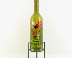 Wine Bottle Candle Holder Hurricane Lamp Dragonflies Hand Painted 750 ml (Painting by Elaine) Tags: green bottle wine recycled painted handpainted poppy poppies lantern winebottle candleholder tealight barlight paintedglass hurricanelamp tealightholder paintedbottle paintedflowers winebottlelamp paintingbyelaine
