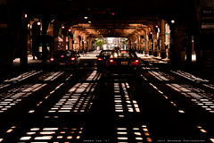 "Under the ""L"" (Jeff_B.) Tags: city chicago motion cars train subway cta traffic loop trains el vanburen l lasalle shadowplay theloop elevatedtrain orangeline lightplay"