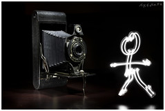 Light Painting (AKfoto.fr) Tags: lightpainting canon kodak folding oldcamera