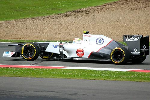 Sergio Perez in his Sauber at Silverstone