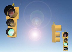 "12"" 8"" 8"" thru signal and 12"" 8"" 8"" 8"" thru signal with right arrow LED. (Traffic signal Guy 17) Tags: led trafficsignals rightarrow econolite rightturnsignal buttonbacks federalyellow thrusignal spanwires led8incharrows"
