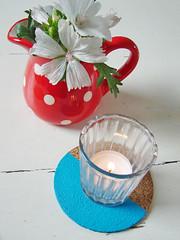 Zomerse onderzetters (tantecupcake) Tags: verf kurk zomerse decoratie kwasten onderzetters