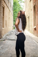 Sydney Alexandra - Spin (willstotler) Tags: leica woman white black philadelphia girl shirt female 35mm hair model pants african sydney makeup stretch pa summicron alexandra american m8 africanamerican philly syd asph summicron35mm modelmayhem leicam8 summicron35mmasph willstotler sydneyalexandra mm1597436 1597436