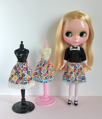 black blouse and dianthus skirts