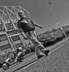 Scooters and the Stadium of Light, Sunderland AFC. (CWhatPhotos) Tags: pictures city light portrait white black monochrome canon honda silver that lens photography eos football foto with image artistic zoom pics stadium wing picture ground pic scooter images have photographs photograph fotos 600 7d biker usm dslr premier which ef 1740mm f4 league maxi contain sunderland lseries stadia silverwing sunderlandafc f4l safc fjs 600cc cwhatphotos