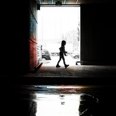 Walk Like an Egyptian (. Jianwei .) Tags: light texture ikea water colors silhouette reflections dark emily walk exit rollershoes a55 kemily