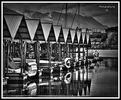 Reedpoint (BettieBlu) Tags: urban bw water monochrome marina reflections boats blackwhite scenery bc hdr bettieblu