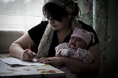 Mother and her child (UNHCR Central Europe) Tags: portrait writing children women child centre mother poland safety reception humanrights asylum asylumseekers seekingsafety receptioncentre