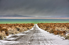 The Road to Mono Lake (Dave Toussaint (www.photographersnature.com)) Tags: california road snowflake travel november blue usa lake snow cold 120 nature water northerncalifornia photoshop canon point landscape photo high highway day photographer dynamic cs2 cloudy picture hwy falling adobe geology monolake vanishing range zero hdr degree 2010 blend adjust