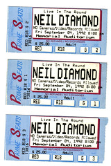 Neil Diamond (September 4 1992) (grilled cheese) Tags: ny concert buffalo ticket scanned 1992 buffalony wny neildiamond scannedimage memorialauditorium primeseats september41992