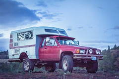 Mt Hood's Backroads (gabriel amadeus) Tags: flowers camping sunset mountain mountains oregon forest truck river spring woods friend wildlife exploring pickup roadtrip adventure waterfalls mthood toyota chinook backroads camper pnw mounthood overnight