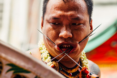 Debus Performer in a Trance (AdamCohn) Tags: new pierced indonesia year chinese chinesenewyear piercing jakarta pierce bodymod spikes debus bodymodification glodok banten adamcohn wwwadamcohncom