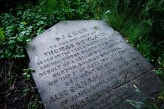 Railway guard gravestone, 1851, Bishophill Community Garden, York (johnpaulsimpson) Tags: grave garden sacred gravestone
