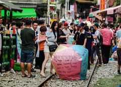 Shifen Old Town - Releasing of Sky Lanterns (Rickloh) Tags: travel beautiful taiwan rick samsung wanderlust blessing wish tradition  koreangirl skylantern  samsungnx samsungsg samsungnx30 rickloh rickintaiwan2015