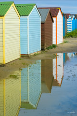 West Wittering (ShrubMonkey (Julian Heritage)) Tags: reflection beach water coast seaside shed huts westwittering