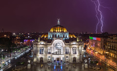 Thunder above the Palacio (reinaroundtheglobe) Tags: lighting longexposure nightphotography architecture mexico mexicocity nightshot thunderstorm palaciodebellasartes