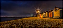 Brighton Beach (RissaJT_23) Tags: nightphotography seascape beach night canon lights seaside sand brighton brightonbeach victorianera bathingboxes canon1740mm canon6d canoneos6d