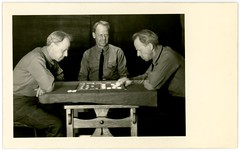 Man Playing Checkers with Himselves (Full Version) (Alan Mays) Tags: ephemera postcards realphotopostcards rppc photos photographs trickphotos trickphotography doubleexposures tripleexposures foundphotos checkers checkerboards boards checkered boardgames gamepieces games playing players men three trio threesome clothing clothes ties neckties poems poetry rhymes humor humorous funny amusing perplexing surprising antique old vintage photographicamusements