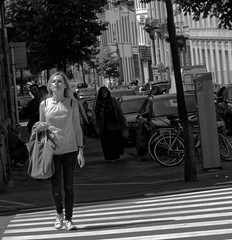 Fire de passer de l'ombre  la lumire - Proud to move from darkness to light (p.franche) Tags: light shadow brussels portrait people urban blackandwhite woman blanco monochrome proud europe belgium belgique noiretblanc lumire femme negro snapshot bruxelles ombre panasonic dxo brussel zwart wit hdr streetshot  belge schwarzweis mustavalkoinen fire inbiancoenero svartochvitt flickrelite  bestofbw fz200  pascalfranche pfranche skancheli
