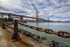 Golden Gate Bridge (x-ray tech) Tags: sanfrancisco goldengate bridge sky clouds hdr high dynamic range canon 5dmarkii landscape seascape scenic sun bright shore rust chain rock water pacific ocean bay nice composition capture interesting interestingness explore flickr beautiful awesome amazing westcoast coastline coastal shoreline cement concrete decay weather timeless