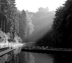 Amselsee am Morgen (isajachevalier) Tags: licht sachsen landschaft lokomotive schsischeschweiz rathen elbsandsteingebirge amselsee