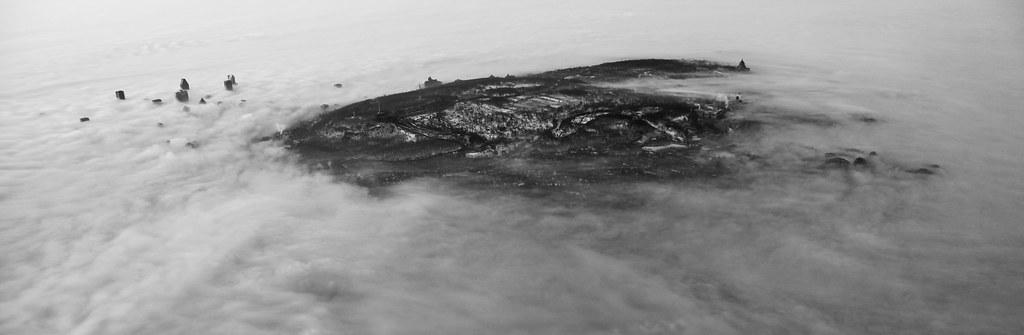 Le Mont-Royal de Montréal sous le brouillard