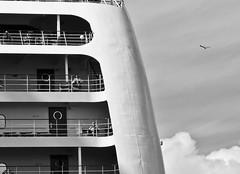 Cruising in Amsterdam. (Bas Tadema) Tags: street camera cruise sky bw sun bird amsterdam weather clouds boot photo cabin warm fotografie balcony balkon wolken cruising olympus scene terminal cruiseship passenger lucht zon meeuw p