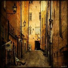 Siesta (Milla's Place) Tags: street alley sweden stockholm textures lanterns siesta gamlastan oldtown textured distressedjewell skeletalmess kerstinfrankart