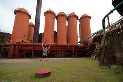 Erin Jumping at the Sloss Furnaces (jaydelaney1) Tags: birmingham birminghamal blastfurnace slossfurnaces