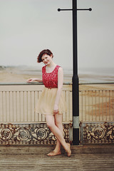 (Louise Spence) Tags: portrait beach girl fashion lady pier sand dress young boutique lincoln skegness rubyred