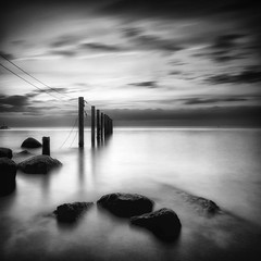 Blankeck (dubdream) Tags: ocean longexposure sea blackandwhite bw white seascape black water fence germany see rocks meer sony baltic a55 sonyalpha putlos blankeck dubdream