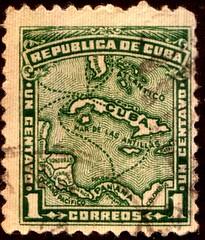 Cuba 1 centavo stamp (stompstompstamps) Tags: green mail stamps cuba stamp 1914 postagestamp republicadecuba 1centavo stampcollectors
