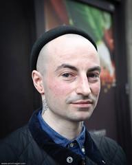 Stranger #2 - Chris, Argyll St, London W1 (AMSImages) Tags: chris portrait man vertical tattoo nikon head 5x4 2485mm f3545 d700 100strangers