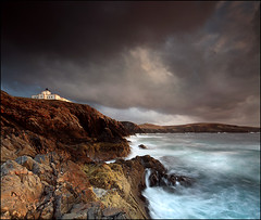 Lighthouse Strathy Point (angus clyne) Tags: sea cliff cloud lighthouse storm scotland north scottish spray sutherland strathy vertorama