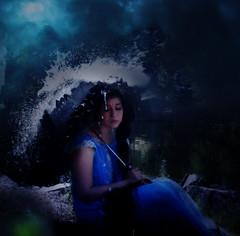 Where is my luck (Märta Norrby) Tags: blue lake nature water fog umbrella vintage inspired drop splash imaginary nightgown brookeshaden märtaphotography