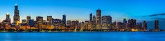 Chicago Skyline From Adler Planetarium (clarsonx) Tags: panorama chicago skyline night illinois downtown cityscape lakemichigan bluehour hdr lakefront gettyimages chicagoist 3xp photomatix tonemapped autopanopro